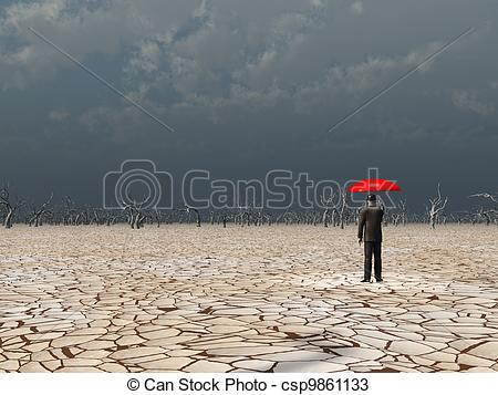 Drawings of Man with red umbrella in dry land under gathering.