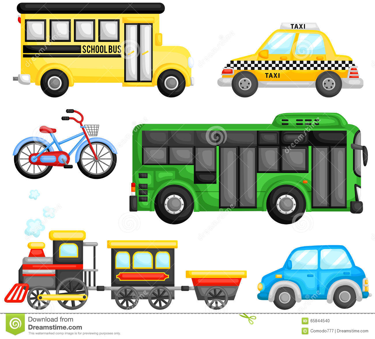 Land Transportation Vector Set Stock Vector.