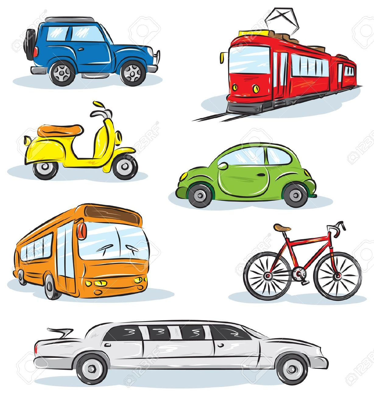 Land vehicles clipart.