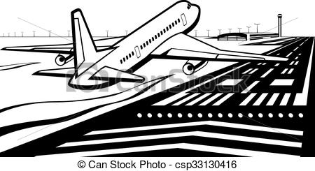 Vector Clip Art of Airplane landed on runway at airport.