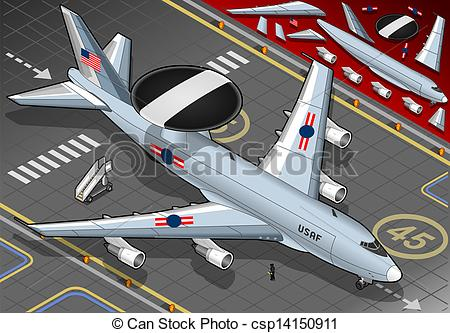 Vector Clip Art of Isometric Drone Airplane Landed in Front View.