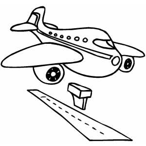 Plane landing on airport clipart.