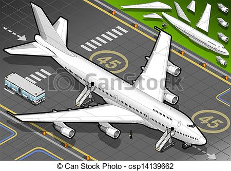 Clipart Vector of Isometric White Airplane Landed in Front View.