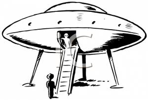 Black and White Retro Style Cartoon of an Alien Spaceship Landed.