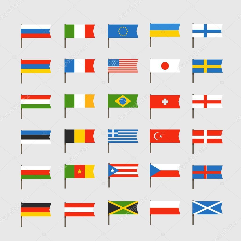 Annan färg flaggor av länder. ClipArt.