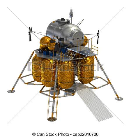 Stock Illustration of Lunar Lander. 3D Model. csp22010700.