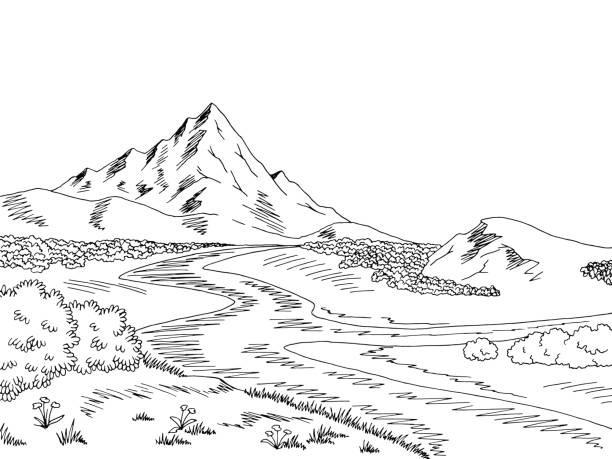 landform clipart black and white #6