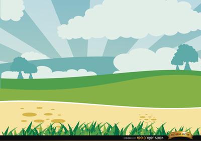 Cartoon Green Landscape, Cliparts.