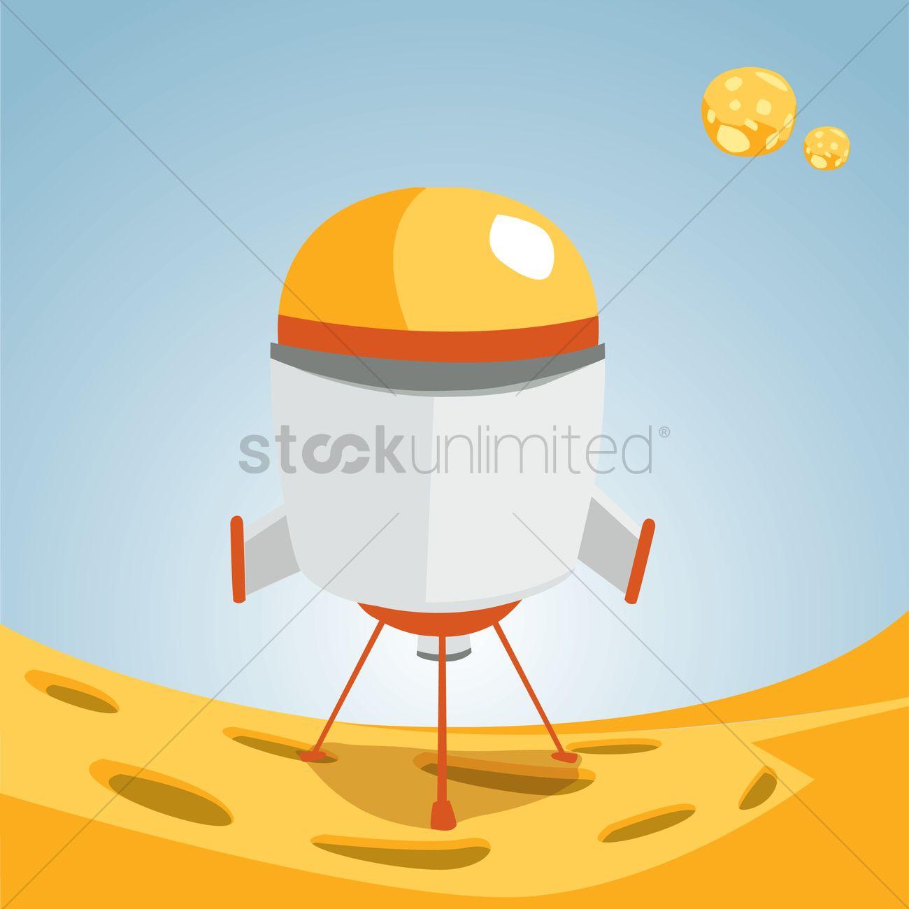 Landed space capsule Vector Image.