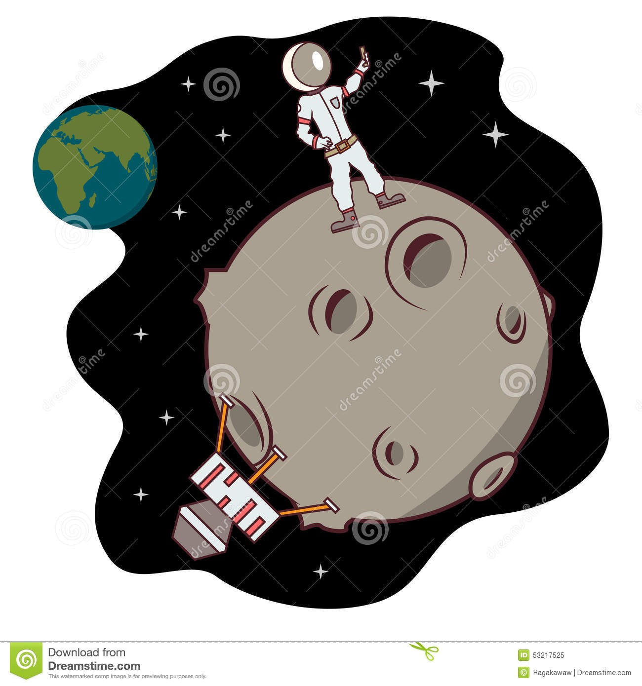 Isolated Cartoon Moon Landing Selfie Time Stock Vector.