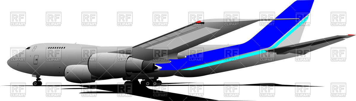 Passenger airliner on landing field, side view Vector Image #55684.