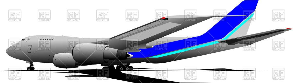 Passenger airliner on landing field, side view Vector Image #55684.