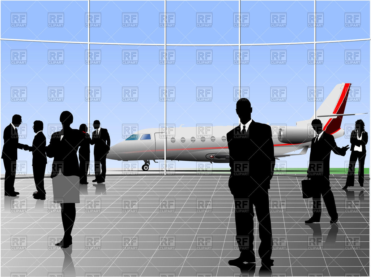 Silhouettes of people in airport and jet on landing field Vector.