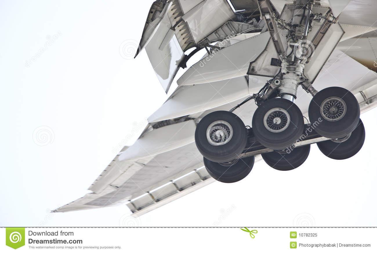 Landing Gear Airplane Stock Photo.