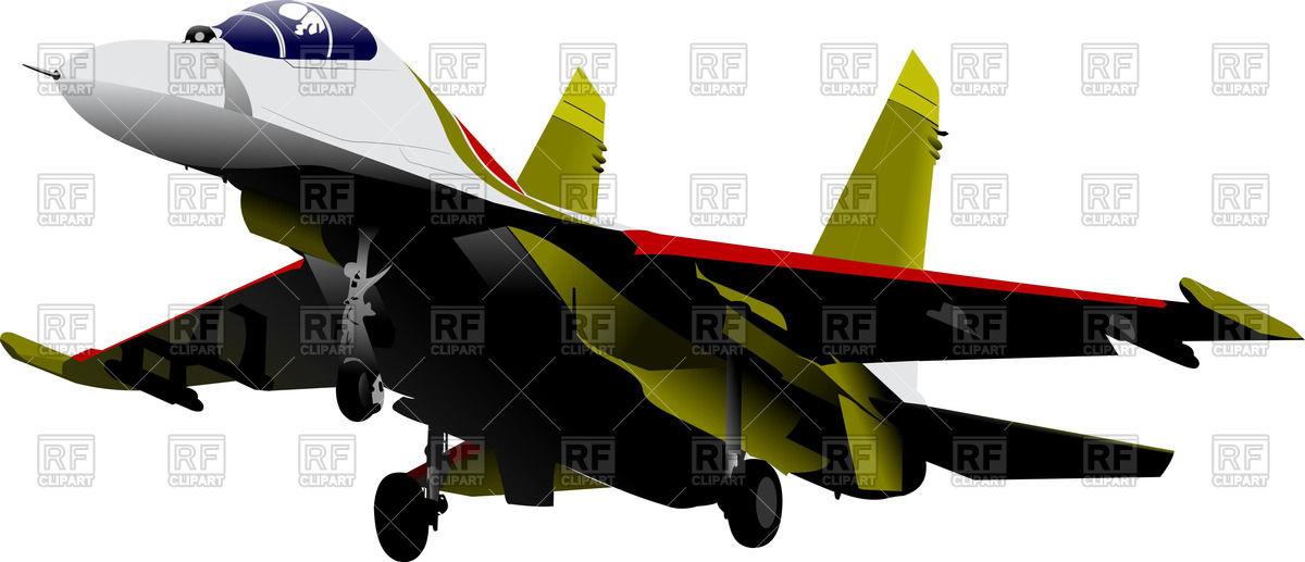 Landing jet fighter extends landing gear Vector Image #55563.