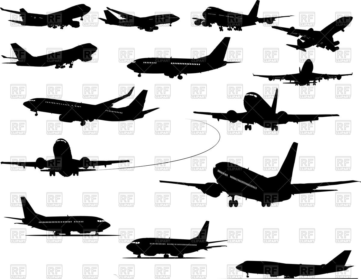 Set of silhouettes of airplanes (flying and landing) Vector Image.