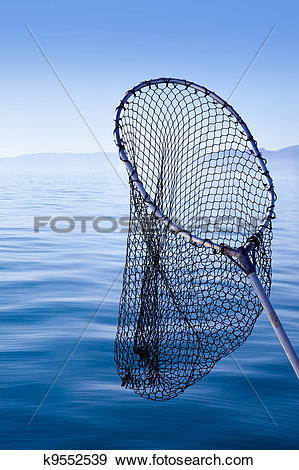 Stock Photograph of fishing landing net in blue sea k9552539.