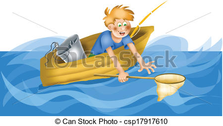 Vector Clip Art of Cartoon fisherman with landing net csp17917610.