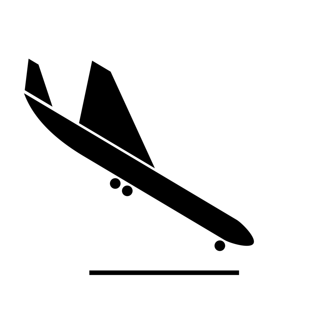 Airplane Clipart Black And White Landing.