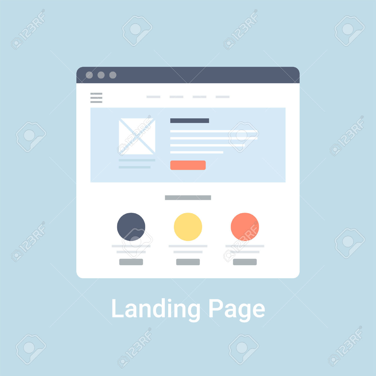 Landing Page Website Wireframe Interface Template. Flat Vector.