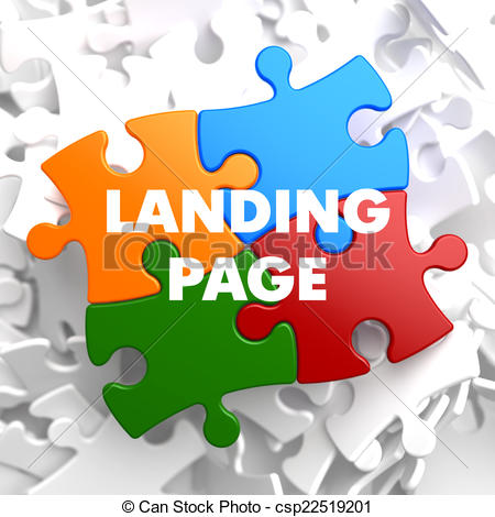 Stock Illustration of Landing Page on Multicolor Puzzle..