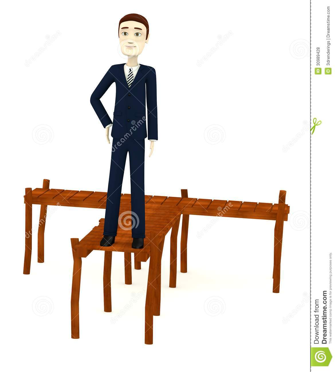 Cartoon Businessman With Landing Stage Royalty Free Stock Photos.