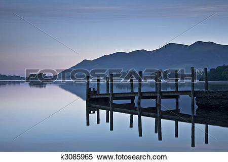Stock Image of Landing stage at dawn on Derwent Water, Lake.