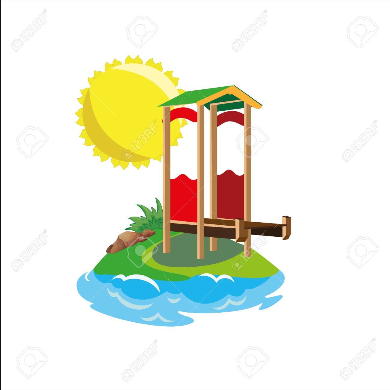 Island And Landing Stage Royalty Free Cliparts, Vectors, And Stock.