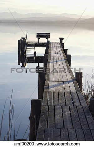 Stock Photography of Germany, Bavaria, Ammersee, landing stage.