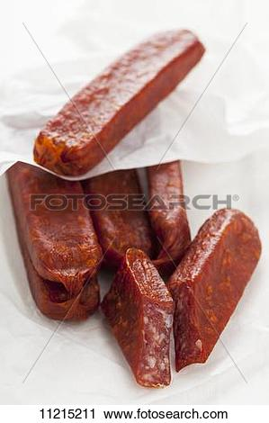 Stock Photography of Landjäger (smoked cured speciality sausage.