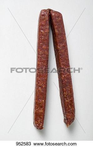 Stock Photo of Landj?ger (Bavarian hard sausage) 952583.