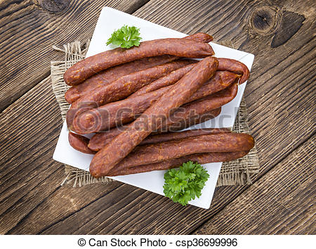 Stock Photographs of Mettwurst (German cuisine) as detailed close.