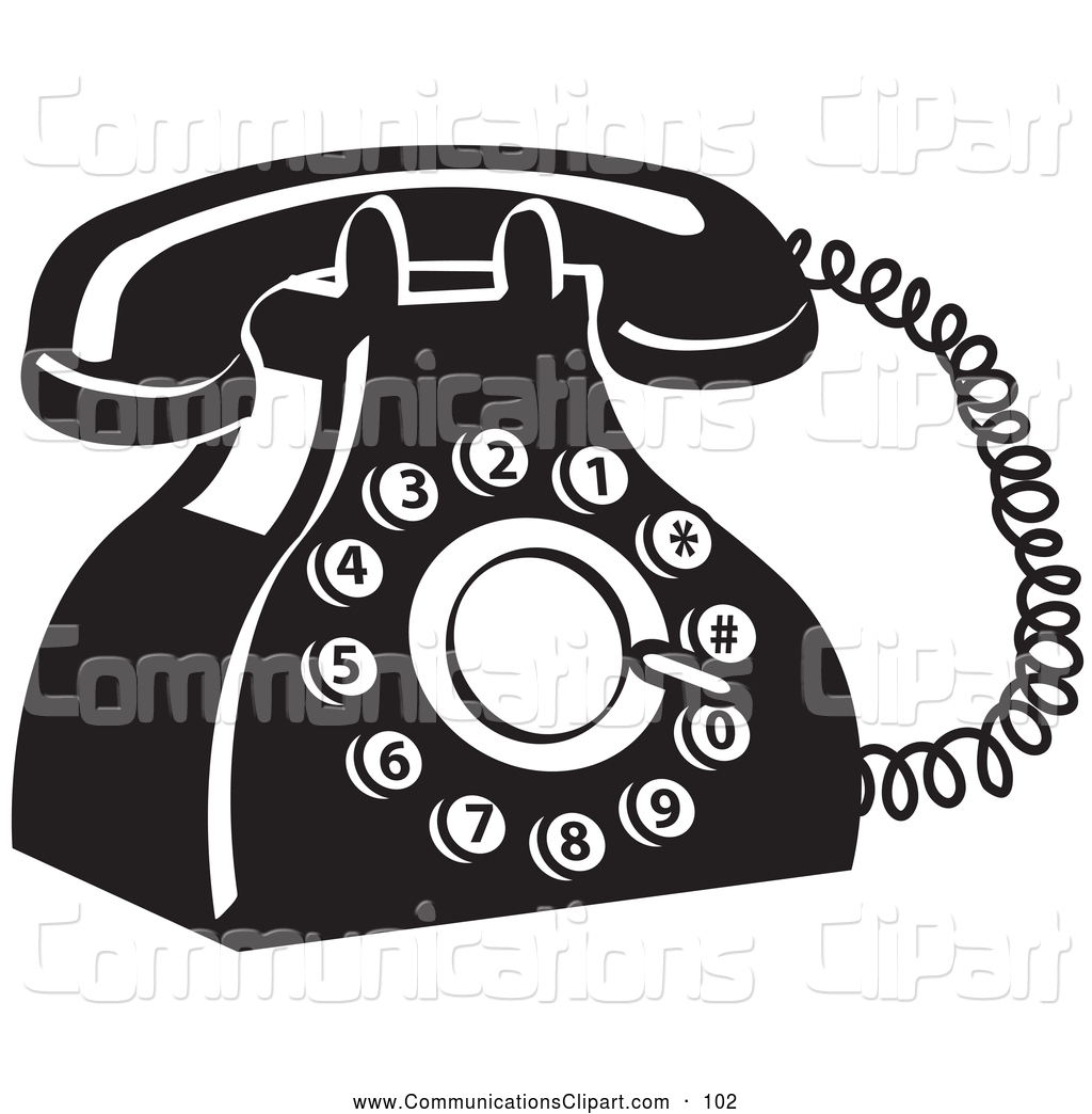 Communication Clipart of a Retro Old Fashioned Rotary Landline.