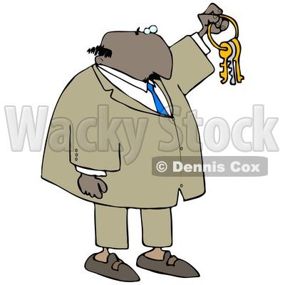 Illustration of a Bald Black Businessman Holding Up Keys On A Ring.