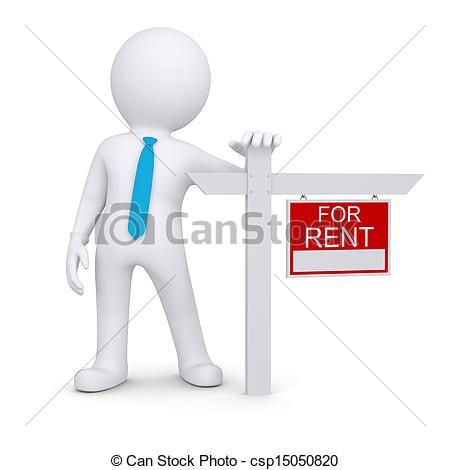 Clip Art of White 3d human and sign a lease. Isolated render on a.