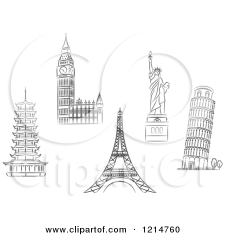 Clipart of Black and White Sketched Architectural Monuments and.