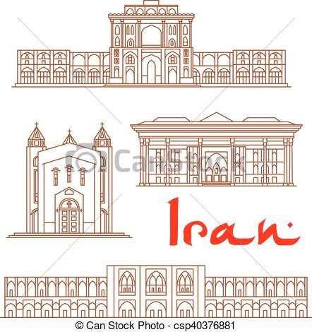 Vector of Iran architecture landmarks, sightseeing.