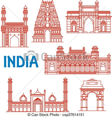 Clipart Vector of Thin line architecture landmarks of India icons.