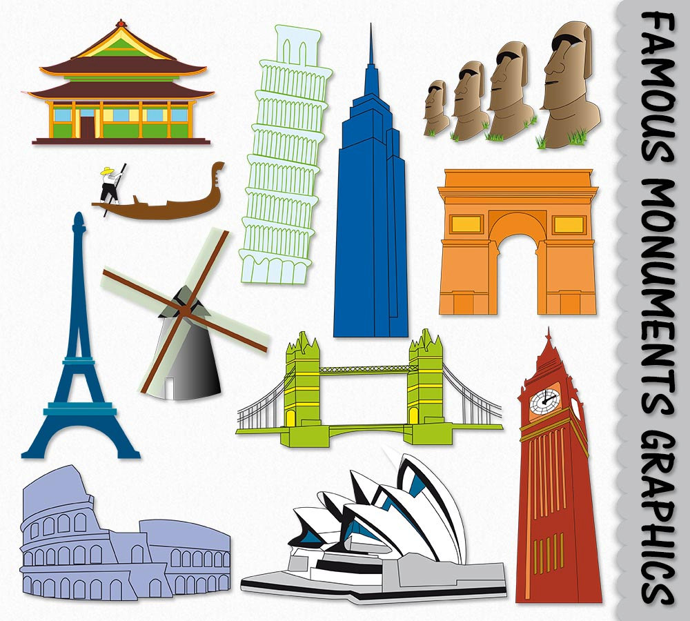 Famous Landmark Clipart Graphic Place Monument by GraphicsSupply.