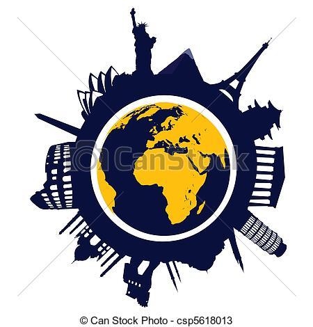 World landmarks clipart.