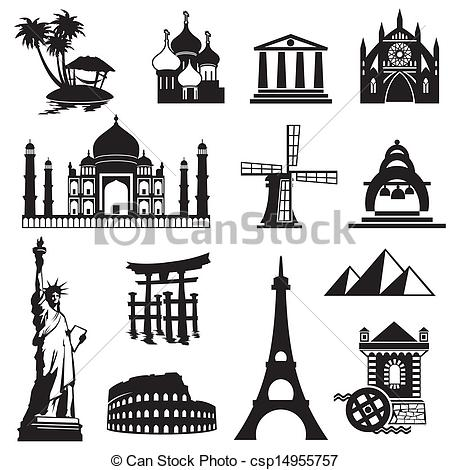 Clip Art Vector of landmarks icons.