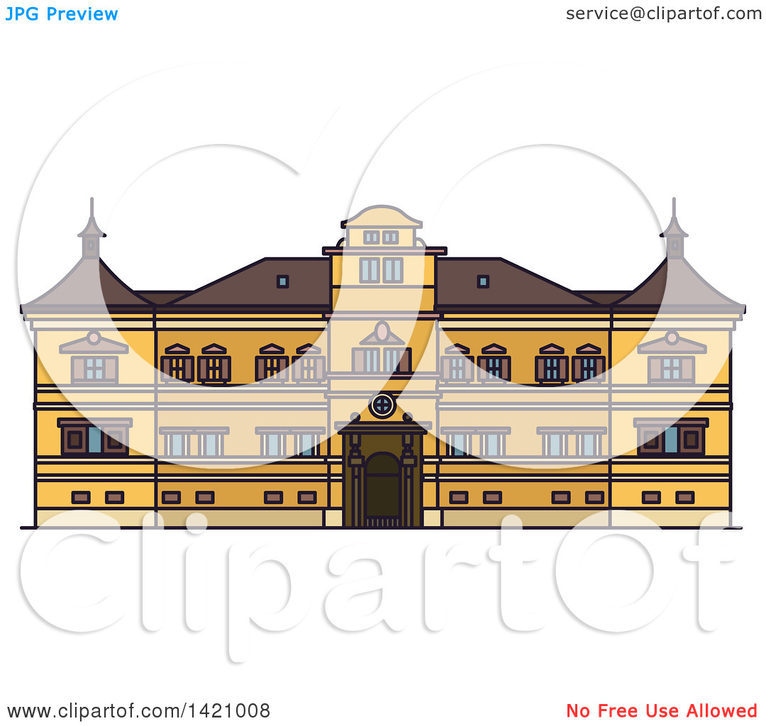 Clipart of a Austria Landmark, Hellbrunn Palace.