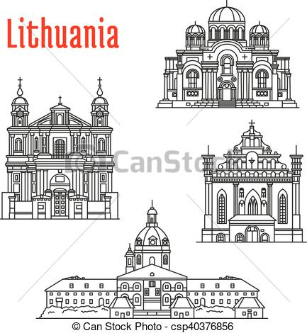 Clipart Vector of Historic landmarks and sightseeings of Lithuania.