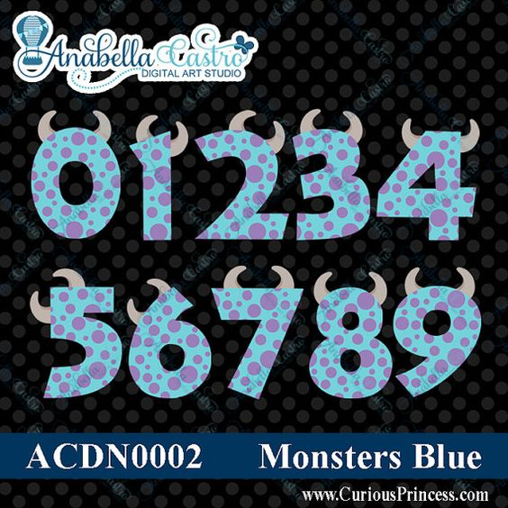 INSTANT download Monsters inspired numbers clipart clip art for.