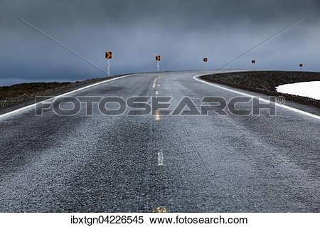 Stock Image of Road on raised land over water, Nordkinn, Finnmark.