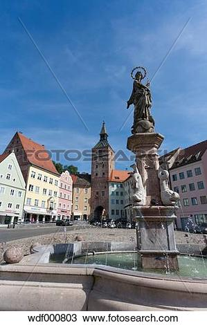 Stock Photo of Germany, Bavaria, Landsberg am Lech, Hauptplatz.