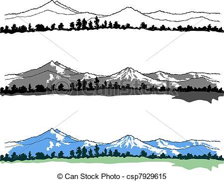 Clipart Vektor von Berge, Landschaften, auf, weißes, hintergrund.