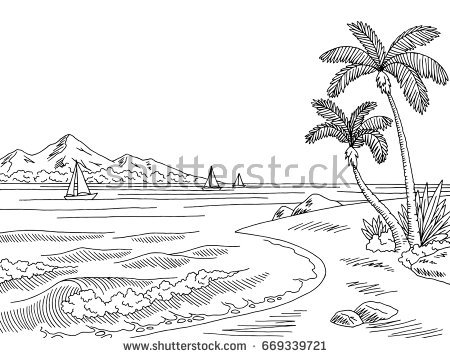 Black And White Landscape Clipart.