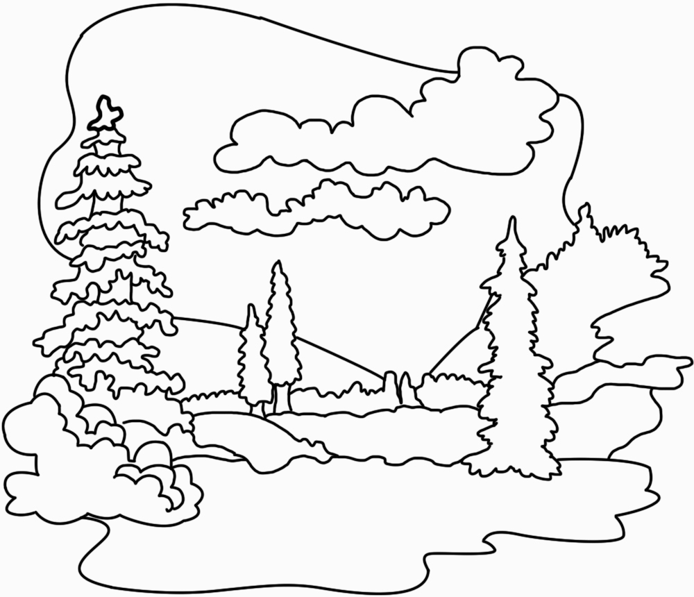 Landscape clipart black and white 11 » Clipart Station.