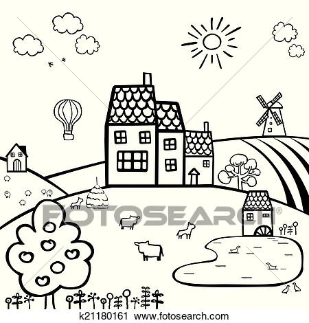 Farm black and white landscape Clipart.